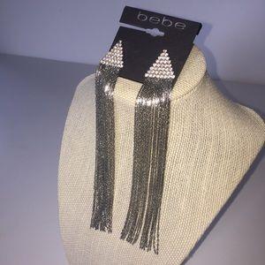 Bebe Silver Rhinestone Dangle Statement Earrings